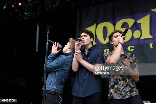 Ricky Garcia Liam Attridge and Emery Kelly of Forever In Your Mind pose backstage during the 2017 BLI Summer Jam at Nikon at Jones Beach Theater on...