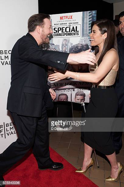 Ricky Gervais and America Ferrera attend Tribeca Talks After the Movie 'Special Correspondents' during the 2016 Tribeca Film Festival at John...