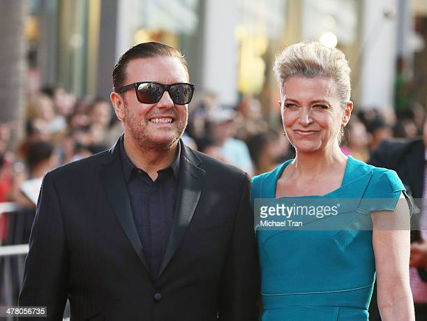 """Ricky Gervais and Jane Fallon arrive at the Los Angeles premiere of """"Muppets Most Wanted"""" held at the El Capitan Theatre on March 11, 2014 in..."""