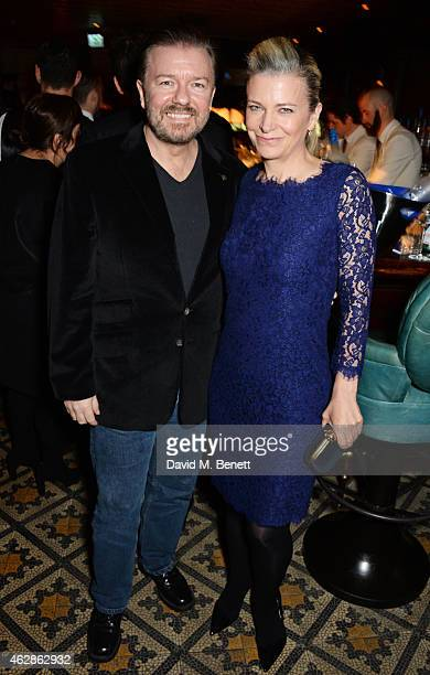 Ricky Gervais and Jane Fallon attend Harvey Weinstein's BAFTA Dinner in partnership with Burberry GREY GOOSE at Little House Mayfair on February 6...