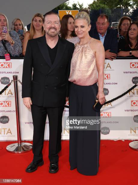 Ricky Gervais and Jane Fallon attend the National Television Awards 2021 at The O2 Arena on September 9, 2021 in London, England.