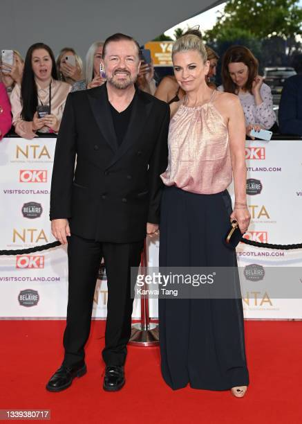 Ricky Gervais and Jane Fallon attend the National Television Awards 2021 at The O2 Arena on September 09, 2021 in London, England.
