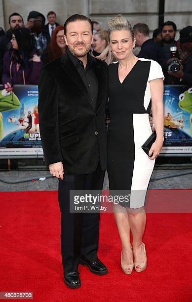 """Ricky Gervais and Jane Fallon attend the VIP screening of """"The Muppets Most Wanted"""" at The Curzon Mayfair on March 24, 2014 in London, England."""