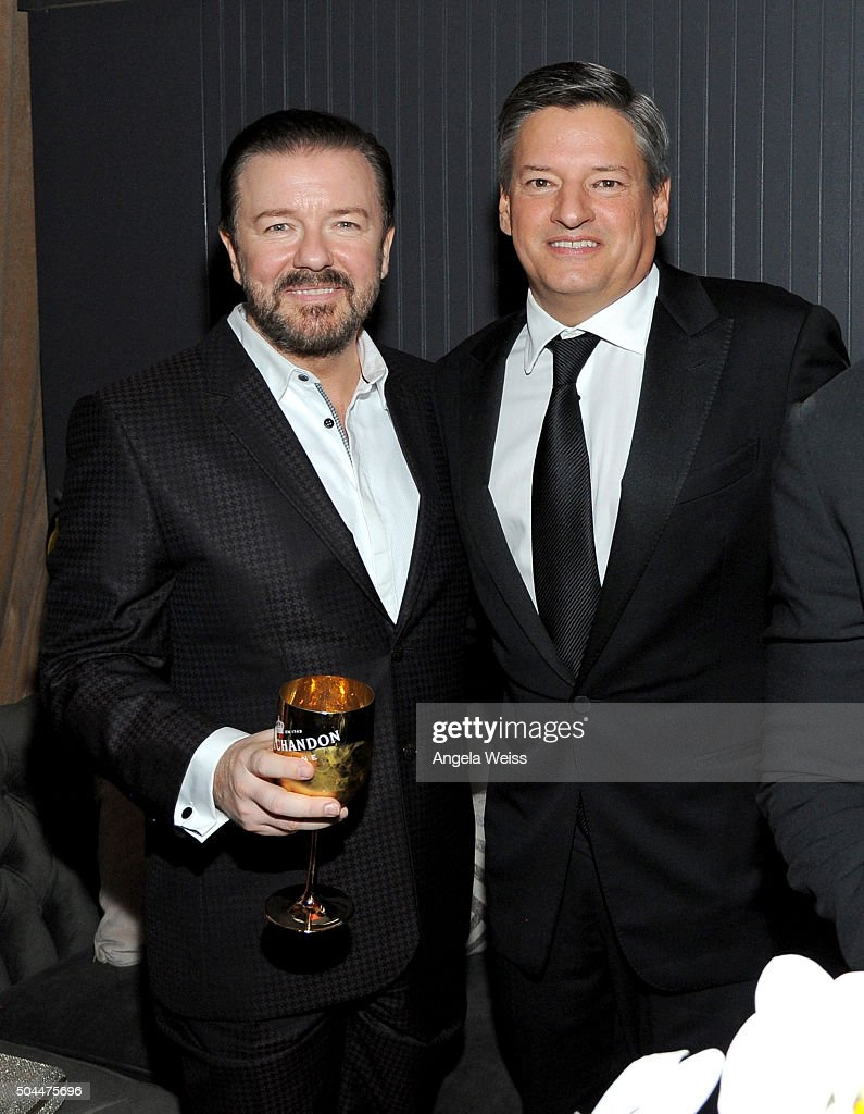 Ricky Gervais and Netflix Head of Content Acquistion Ted Sarandos attend The Weinstein Company and Netflix Golden Globe Party, presented with DeLeon Tequila, Laura Mercier, Lindt Chocolate, Marie Claire and Hearts On Fire at The Beverly Hilton Hotel on January 10, 2016 in Beverly Hills, California.