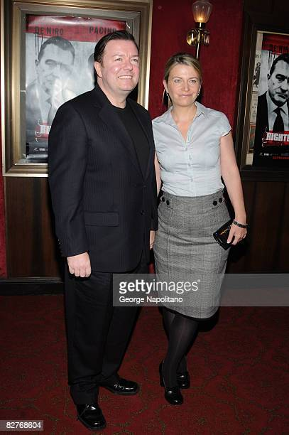 Ricky Gervais and wife attend the New York premiere of 'Righteous Kill' at the Ziegfeld Theater on September 10 2008 in New York City