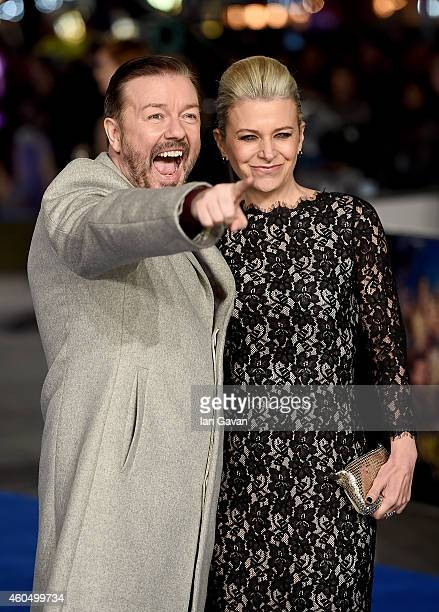 Ricky Gervais and wife Jane Fallon attend the UK Premiere of Night At The Museum Secret Of The Tomb at Empire Leicester Square on December 15 2014 in...