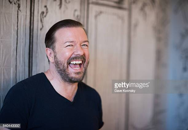Ricky Gervais arrives at AOL Build Speaker Series to discuss 'Special Correspondents' at AOL Studios In New York on June 15 2016 in New York City