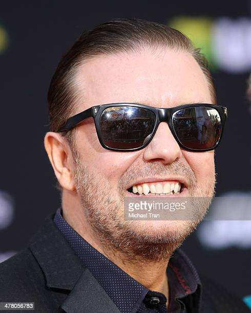 """Ricky Gervais arrives at the Los Angeles premiere of """"Muppets Most Wanted"""" held at the El Capitan Theatre on March 11, 2014 in Hollywood, California."""