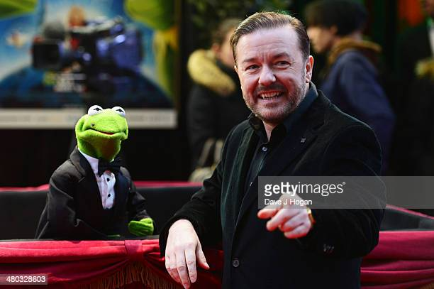 Ricky Gervais attends a VIP screening of 'The Muppets Most Wanted' at The Curzon Mayfair on March 24 2014 in London England