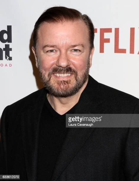 Ricky Gervais attends David Brent Life on the Road New York Screening at Metrograph on February 2 2017 in New York City