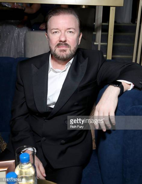 Ricky Gervais attends the Netflix 2020 Golden Globes After Party at The Beverly Hilton Hotel on January 05 2020 in Beverly Hills California