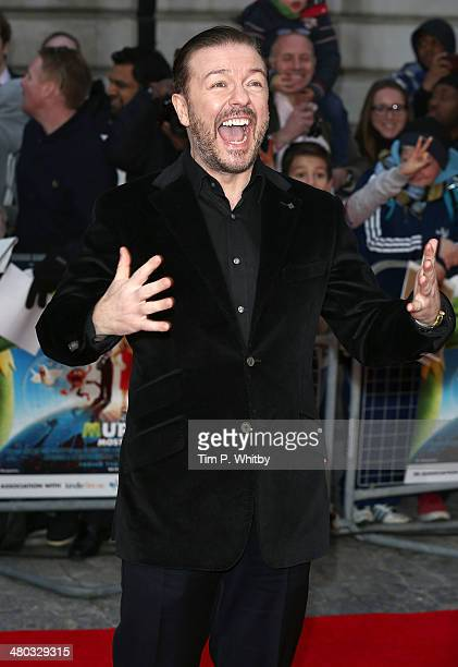 """Ricky Gervais attends the VIP screening of """"The Muppets Most Wanted"""" at The Curzon Mayfair on March 24, 2014 in London, England."""