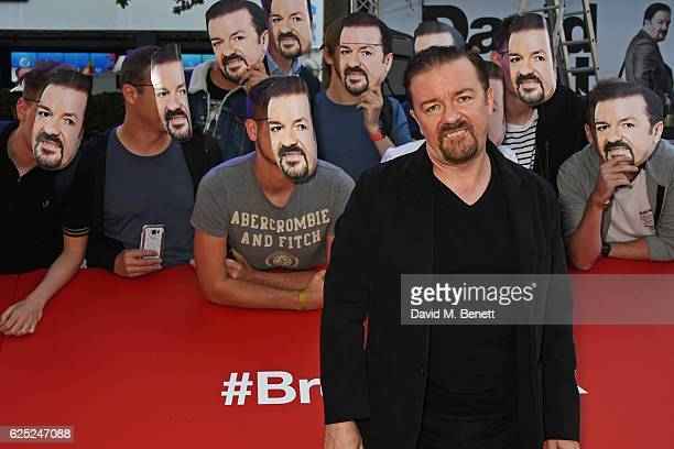 Ricky Gervais attends the World Premiere David Brent Life On The Road at Odeon Leicester Square on August 10 2016 in London England