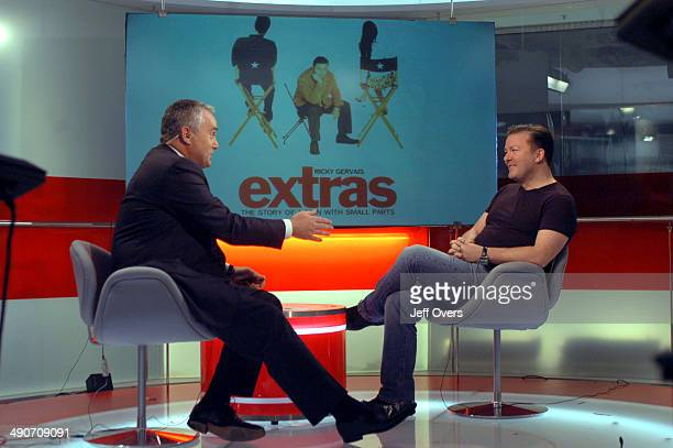 Ricky Gervais being interviewed by Huw Edwards for BBC News 24 on October 5th 2006 Ricky Gervais awardwinning English comic writer and performer from...
