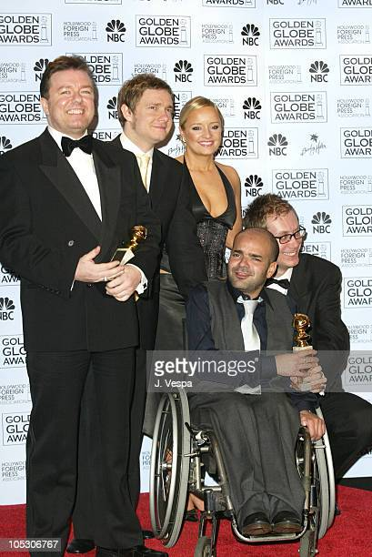 Ricky Gervais Martin Freeman Lucy Davis Ash Atalla and Stephen Merchant winners of Best Television Series Musical or Comedy for The Office