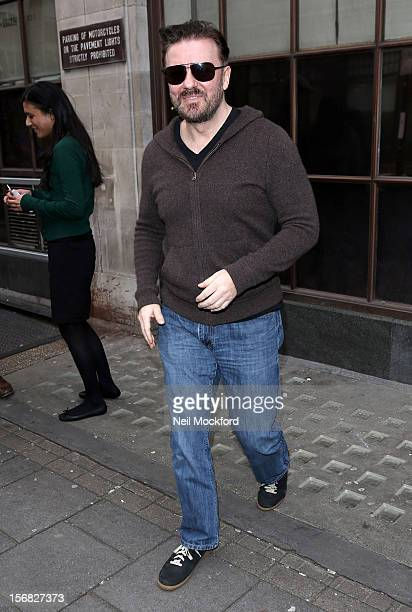 Ricky Gervais seen at BBC Radio One on November 22 2012 in London England