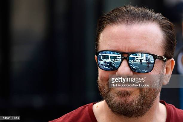 Ricky Gervais seen leaving the BBC Radio 2 Studios on April 5 2016 in London England