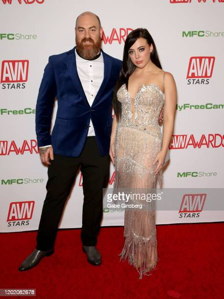 Ricky Greenwood and adult film actress Whitney Wright attends the 2020 Adult Video News Awards at The Joint inside the Hard Rock Hotel Casino on...