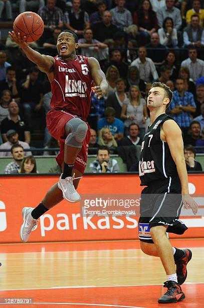 Ricky Harris of Wuerzburg scores during the Beko BBL Bundesliga match between LTi Giessen 46ers and s Oliver Baskets at SporthalleOst on October 8...