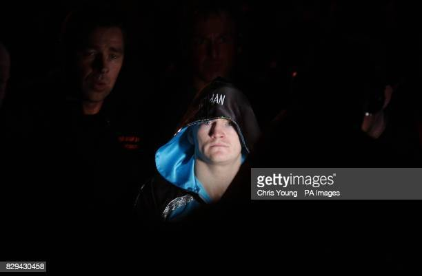 Ricky Hatton arrives at ringside during the WBU LightWelterweight Championship fight at the EXCEL centre east London