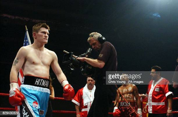 Ricky Hatton from Manchester arrives in the ring for his WBU lightwelterweight title bout against Ray Oliveira from USA at London's ExCel Arena