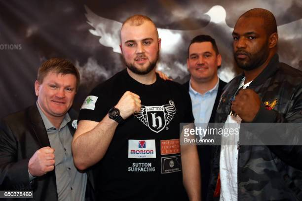 Ricky Hatton Nathan Gorman and Dominic Akinlade pose for a photo during a press conference ahead of their Eliminator for the IBO International...