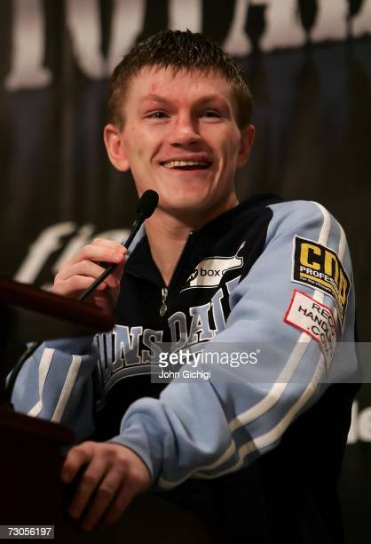 Ricky Hatton of England smiles after his post fight press conference after his bout against Juan Urango of Colombia during their junior welterweight...