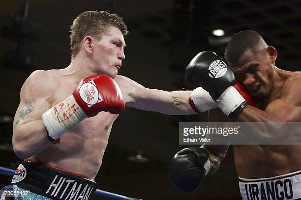 Ricky Hatton of England throws a left to the face of Juan Urango of Colombia during their junior welterweight title fight on January 20, 2007 in the...