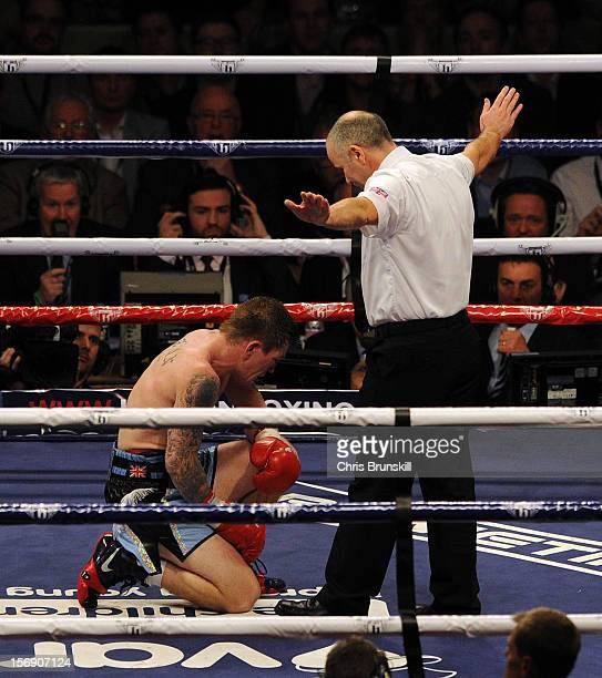 Ricky Hatton of Great Britain fails to beat the count after being knocked down by Vyacheslav Senchenko of Ukraine during their welterweight bout at...