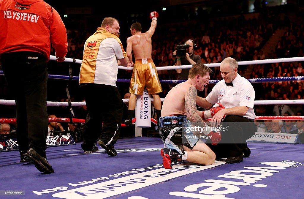 Ricky Hatton of Great Britainfails to get up after being knocked down by Vyacheslav Senchenko of Ukraine during their Welterweight bout at the MEN Arena on November 24, 2012 in Manchester, England.