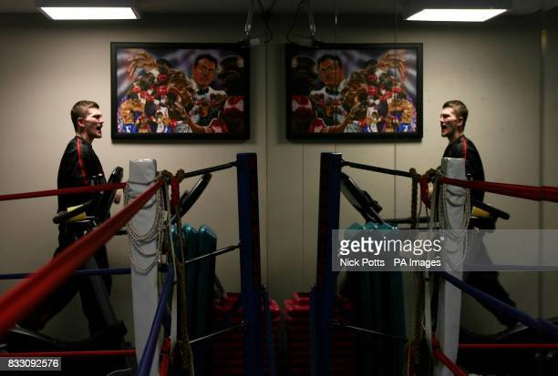 Ricky Hatton on the running machine facing a mirror during a training session at Zuffa's Gym Las Vegas Nevada USA