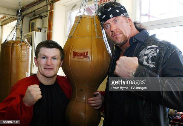 Ricky Hatton WWE star The Undertaker during a vist to the Manchester Boxers Gym in Denton