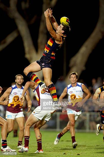 Ricky Henderson of the Crows goes high but fails to take the mark during the round two NAB Cup AFL match between the Adelaide Crows and the Brisbane...
