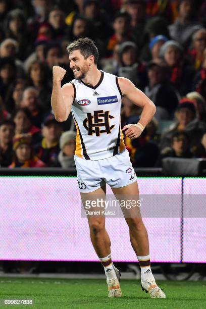 Ricky Henderson of the Hawks celebrates after kicking a goal during the round 14 AFL match between the Adelaide Crows and the Hawthorn Hawks at...
