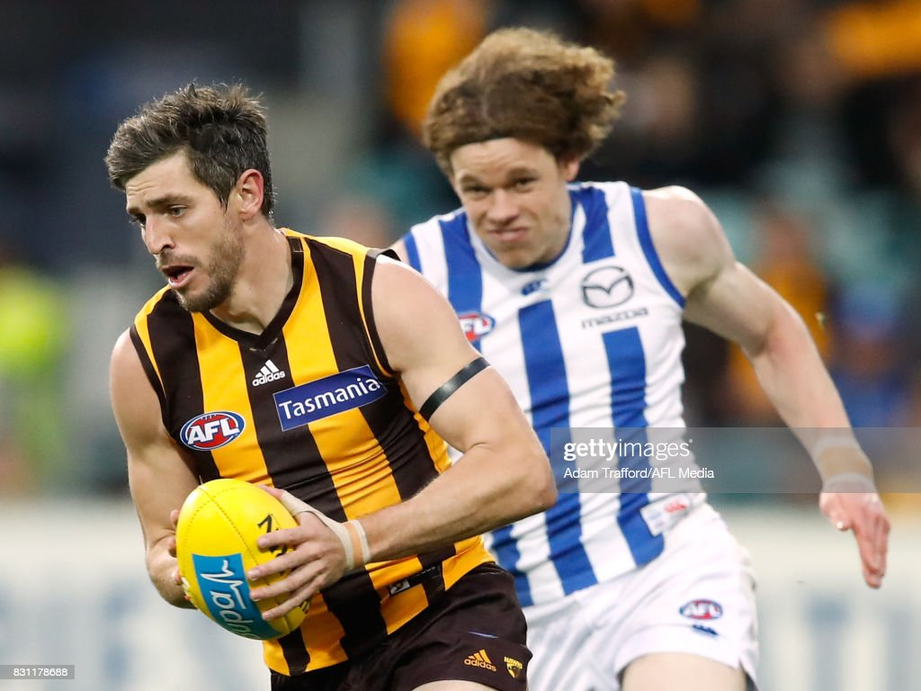 Ricky Henderson of the Hawks in action ahead of Ben Brown of the Kangaroos during the 2017 AFL round 21 match between the Hawthorn Hawks and the North Melbourne Kangaroos at the University of Tasmania Stadium on August 13, 2017 in Launceston, Australia.