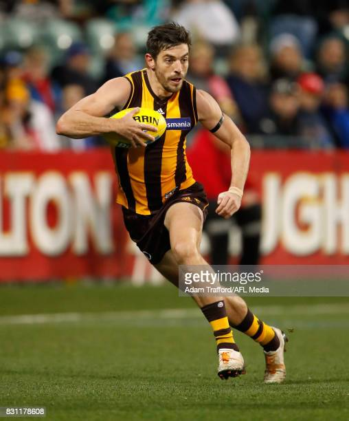 Ricky Henderson of the Hawks in action during the 2017 AFL round 21 match between the Hawthorn Hawks and the North Melbourne Kangaroos at the...