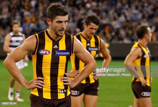 Ricky Henderson of the Hawks looks dejected after a loss during the 2017 AFL round 04 match between the Hawthorn Hawks and the Geelong Cats at the...