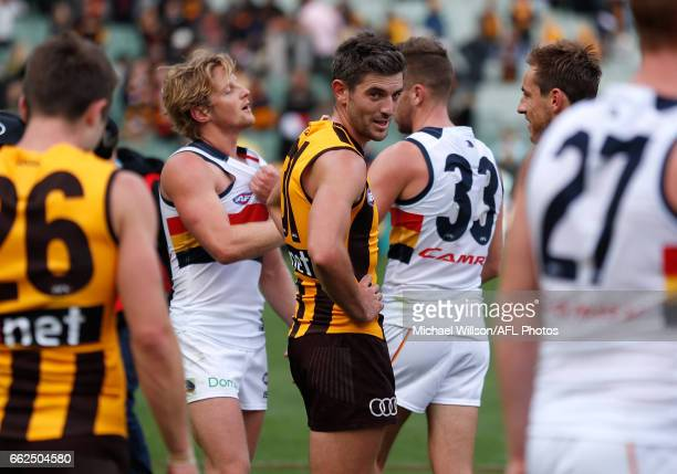 Ricky Henderson of the Hawks looks on during the 2017 AFL round 02 match between the Hawthorn Hawks and the Adelaide Crows at the Melbourne Cricket...