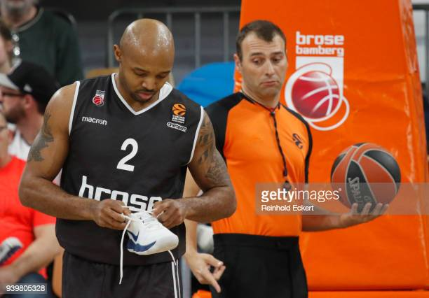 Ricky Hickman #2 of Brose Bamberg in action during the 2017/2018 Turkish Airlines EuroLeague Regular Season Round 29 game between Brose Bamberg and...