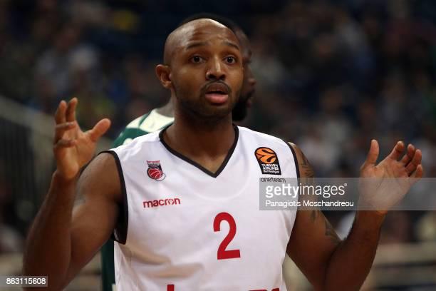 Ricky Hickman #2 of Brose Bamberg react during the 2017/2018 Turkish Airlines EuroLeague Regular Season Round 2 game between Panathinaikos Superfoods...