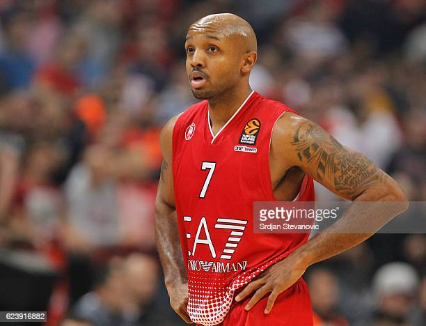 Ricky Hickman of Armani looks on during the 2016/2017 Turkish Airlines EuroLeague Regular Season Round 8 game between Crvena Zvezda MTS Belgrade...