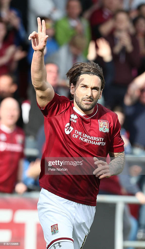 Ricky Holmes of Northampton Town celebrates after scoring his and his sides second goal during the Sky Bet League Two match between Northampton Town and Notts County at Sixfields Stadium on April 2, 2016 in Northampton, England.