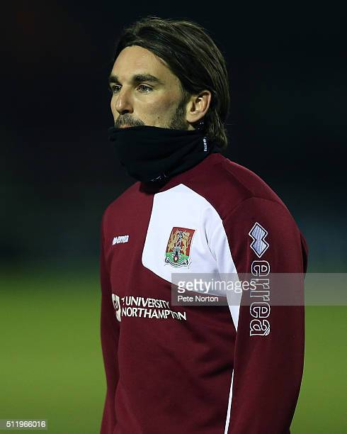 Ricky Holmes of Northampton Town during the pre match warm up prior to the Sky Bet League Two match between York City and Northampton Town at Bootham...