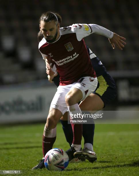 Ricky Holmes of Northampton Town in action during the Papa John's Trophy match between Northampton Town and Stevenage at PTS Academy Stadium on...