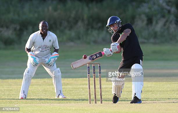 Ricky Holmes of Northampton Town looks to play a shot during a 20/20 Cricket Match between Bold Dragoon CC and Northampton Town FC in aid of the Leon...