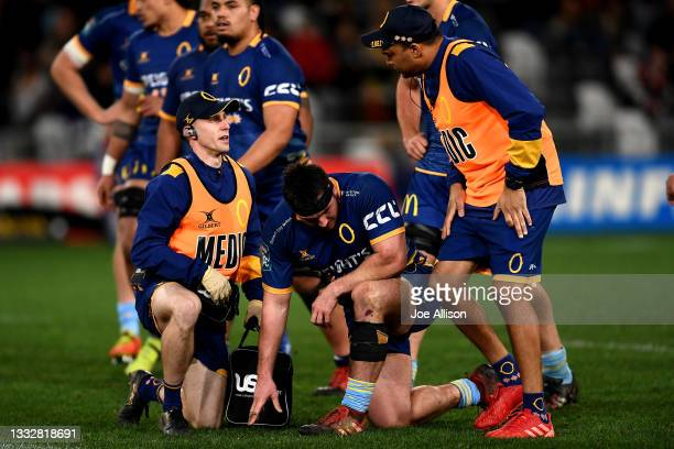 Ricky Jackson of Otago receives medical attention during the round one Bunnings NPC match between Otago and Southland at Forsyth Barr Stadium, on...