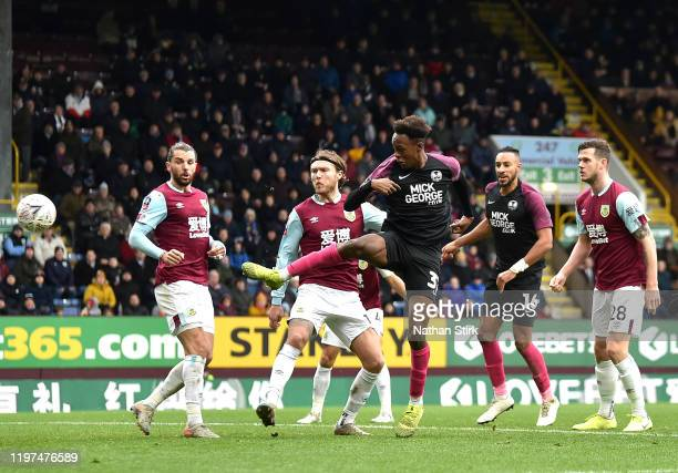 Ricky JadeJones of Peterborough United scores his team's second goal during the FA Cup Third Round match between Burnley FC and Peterborough United...