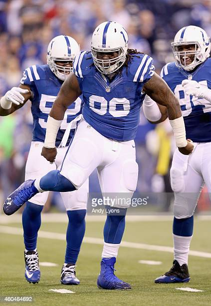 Ricky Jean Francois of the Indianapolis Colts celebrates after a sack during the game against the Houston Texans at Lucas Oil Stadium on December 14...