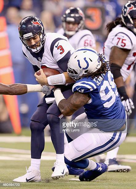 Ricky Jean Francois of the Indianapolis Colts sacks Tom Savage of the Houston Texans during the game at Lucas Oil Stadium on December 14 2014 in...