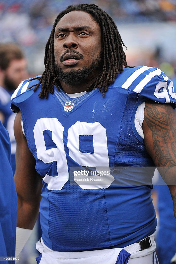 Ricky Jean Francois #99 of the Indianapolis Colts watches from the sideline during a game against the Tennessee Titans at LP Field on December 28, 2014 in Nashville, Tennessee.